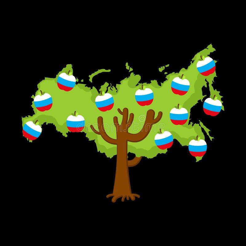 De patriottische kaart van Rusland van de appelboom appelen Russische vlag genaturaliseerd stock illustratie