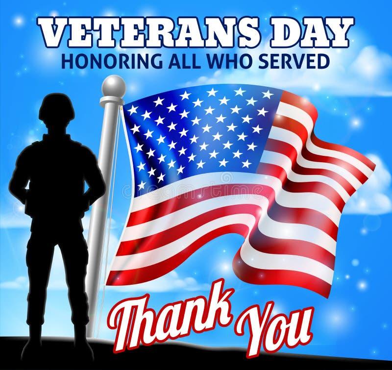 De Patriottische Militair American Flag van de veteranendag vector illustratie