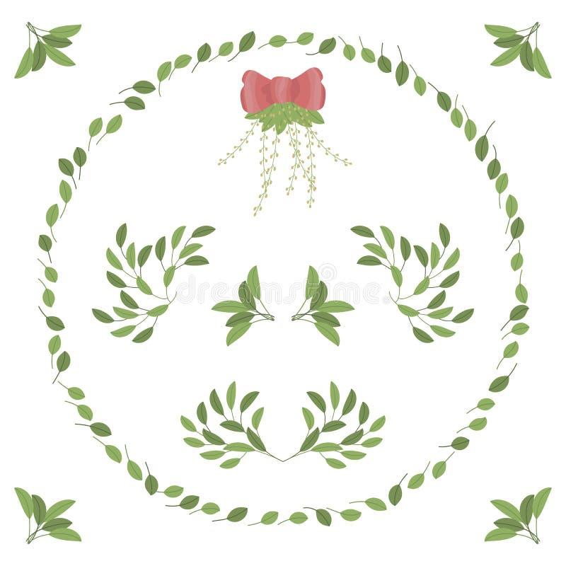 De patronen en een kroon van groene bladeren buigen de samenstellingsvariaties van het hoekentakje van een vastgestelde vector vector illustratie