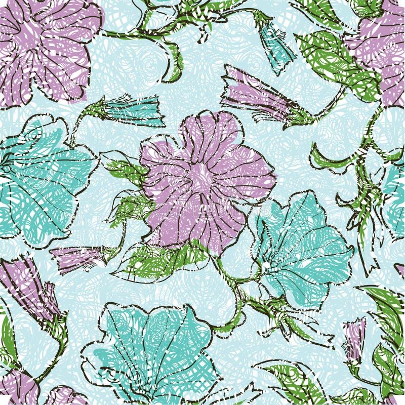 De patronen met bloemen en doorbladert royalty-vrije illustratie