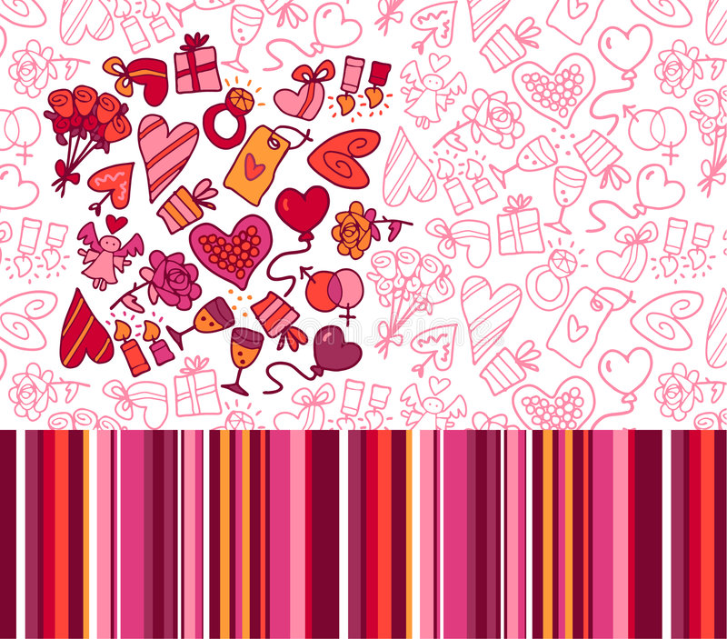 De patronen van de valentijnskaart vector illustratie