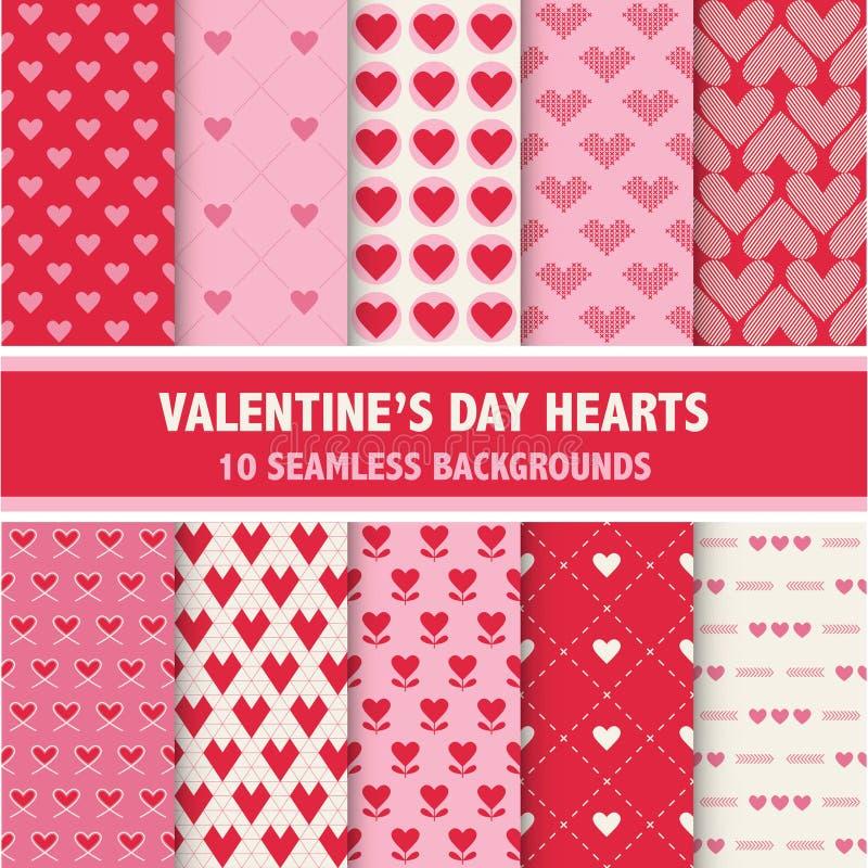 De Patronen van het de Daghart van Valentine vector illustratie