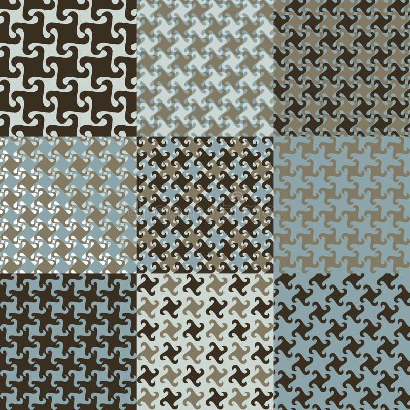 De Patronen van Swirly in Blauw en Bruin stock illustratie