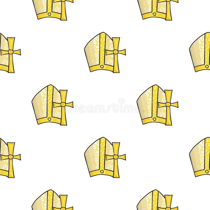 De patronenpictogram van Vatikaan in beeldverhaalstijl op witte achtergrond wordt geïsoleerd die Van de het patroonvoorraad van h royalty-vrije illustratie