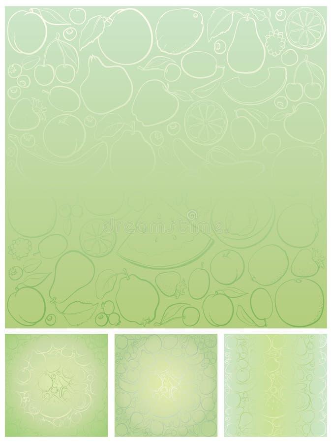 De patronenvariaties van het fruit stock illustratie