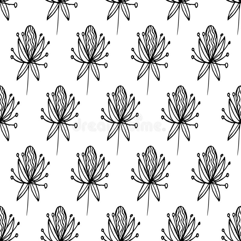 De patroonabstractie bloeit zwarte lijnen 01 royalty-vrije illustratie