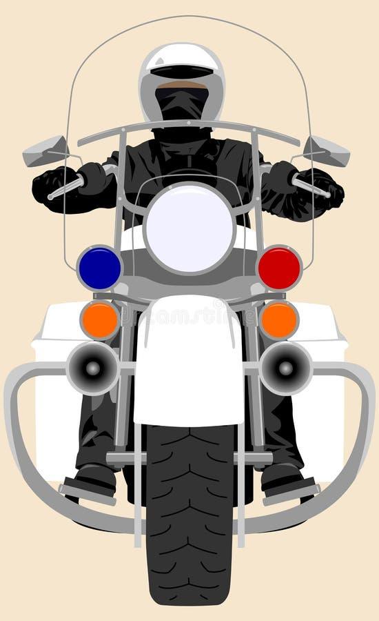 De patrouille zware motorfiets van de kleurenpolitie met de geïsoleerde vectorillustratie van het politieagent vooraanzicht royalty-vrije illustratie
