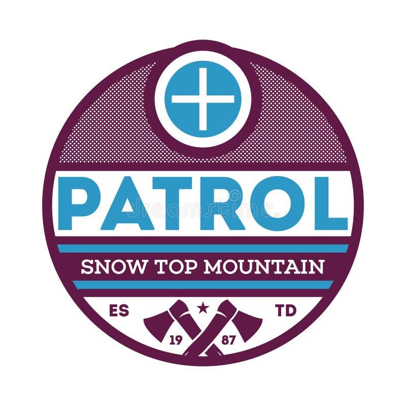 De patrouilleetiket van de sneeuw hoogste berg stock illustratie