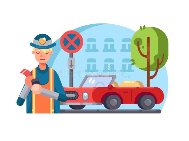 De patrouillepolitieagent schrijft boete royalty-vrije illustratie