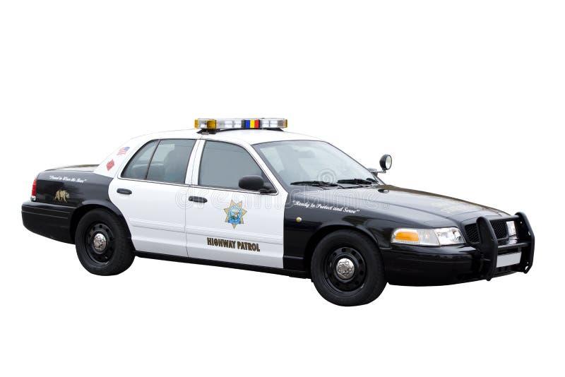 De patrouillepolitiewagen van de weg op wit wordt geïsoleerdn dat stock afbeeldingen
