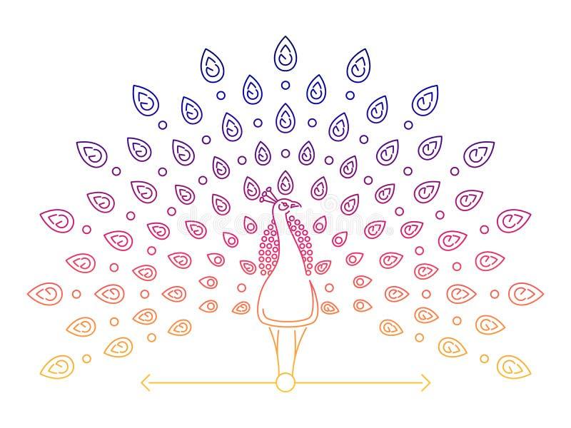 De pauwembleem van de kleuren dun lijn royalty-vrije illustratie