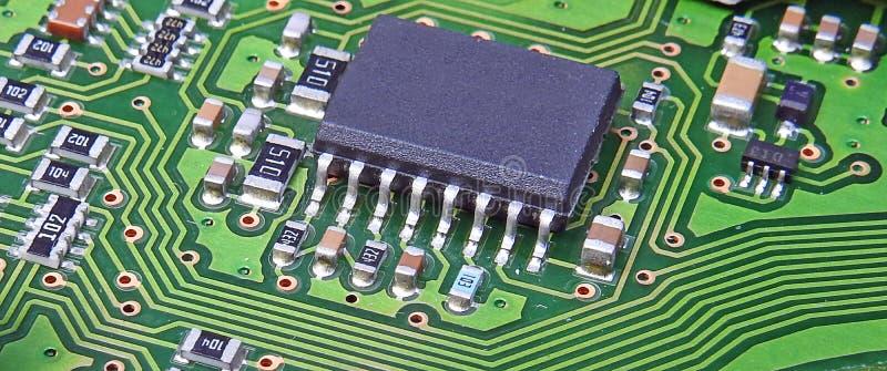 De PCB gedrukte van het de eenheidscontrolebord van de kringsraad comms elektronische microchip van de schakelaarspunten royalty-vrije stock foto's