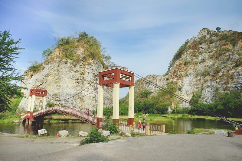 ` De pedra bonito do parque da pedra de Khao Ngu do ` da montanha em Ratchaburi, Tailândia imagem de stock royalty free