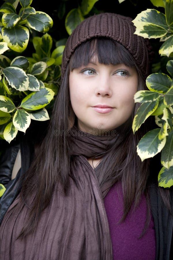 De peinzende vrouw van het portret royalty-vrije stock foto's