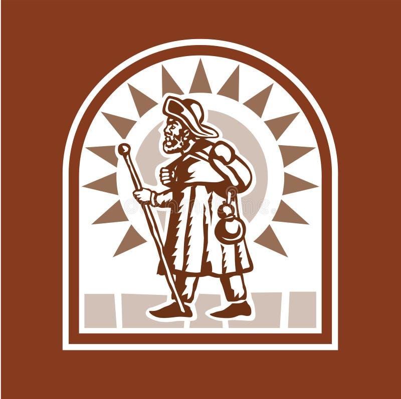 De Pelgrim van Medioeval royalty-vrije illustratie