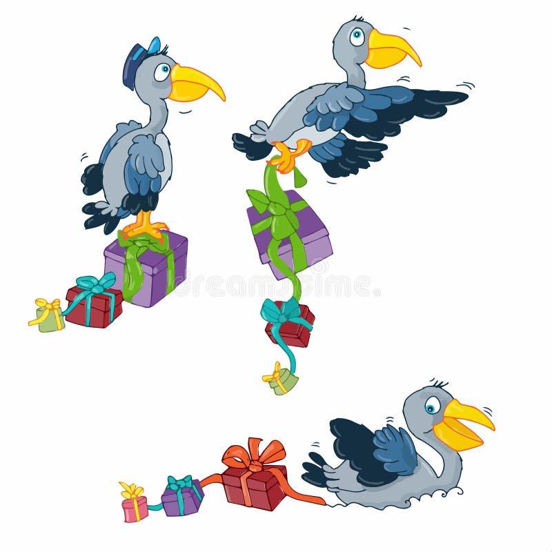 De pelikaanreiziger brengt de giften gekleurde knoop of het pictogram van de illustratiehumorist voor website royalty-vrije illustratie