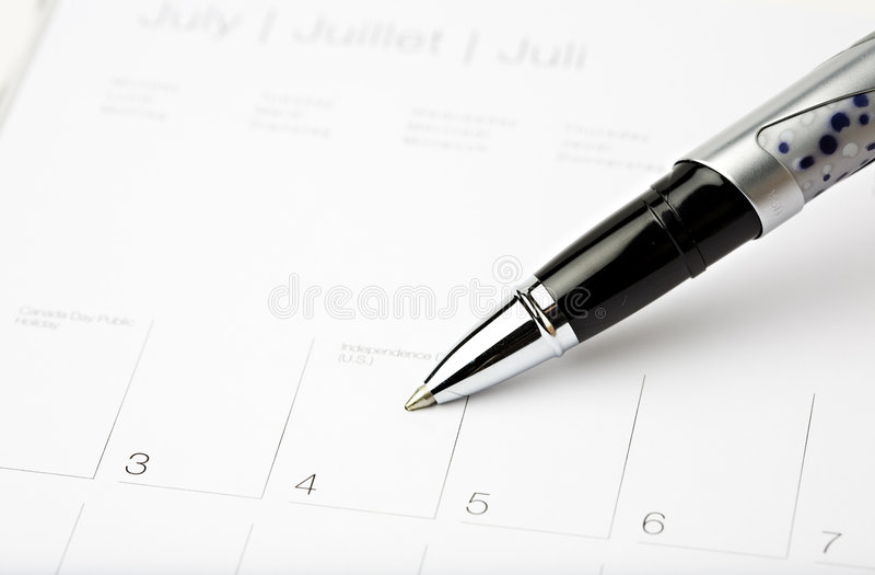 De pen 4 van de kalender juli royalty-vrije stock foto