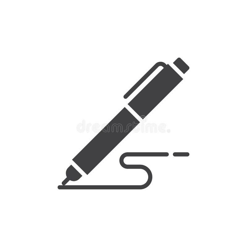 De pen, schrijft pictogram vector, gevuld vlak teken, stevig die pictogram op wit wordt geïsoleerd royalty-vrije illustratie