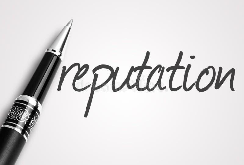 De pen schrijft reputatiewoord op papier royalty-vrije stock afbeelding