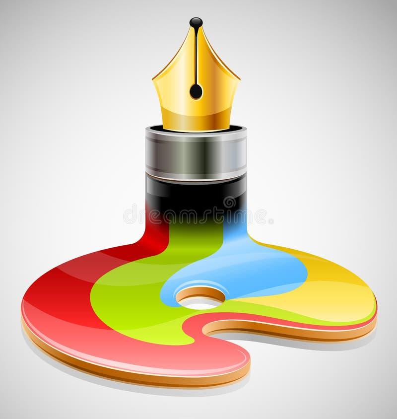 De pen van de inkt als symbool van visueel art. stock illustratie