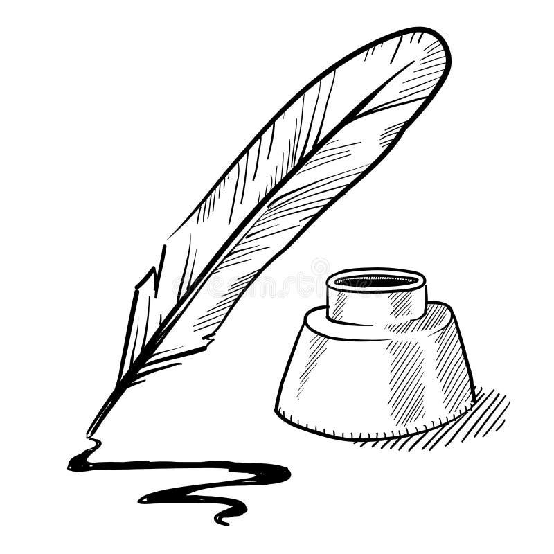 De pen van de veer en inktpottekening royalty-vrije illustratie