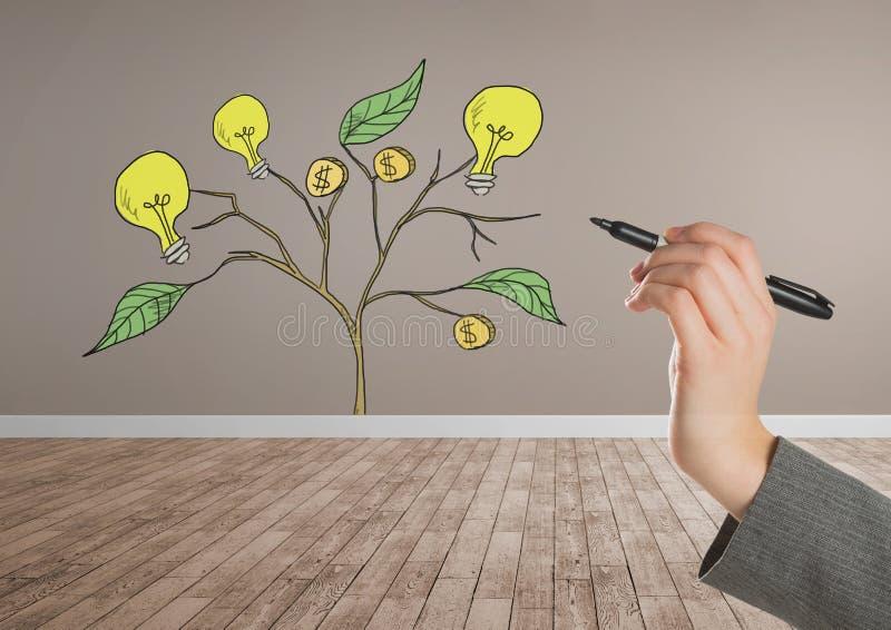 De pen van de handholding en de Tekening van Geld en ideegrafiek op installatie vertakken zich op muur stock illustratie