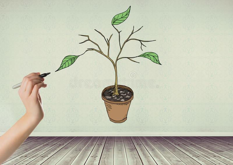 De pen van de handholding en Tekening van Installatietakken en bladeren op muur stock illustratie