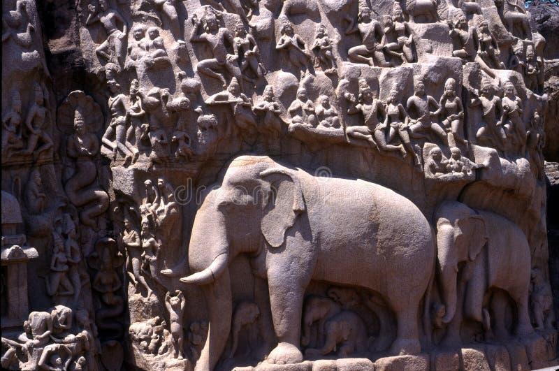 De Penitentie van Arjuna, Mamallapuram, Tamil Nadu, India stock afbeelding