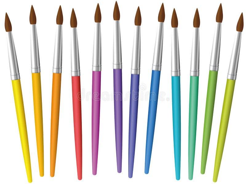 De penselen schikten Regenboog los Gekleurde Inzameling royalty-vrije illustratie