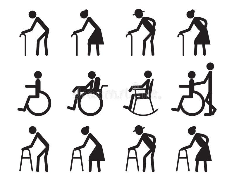 De pensionering, de oude mensen en de patiënt, verlammen pictogramreeks royalty-vrije illustratie