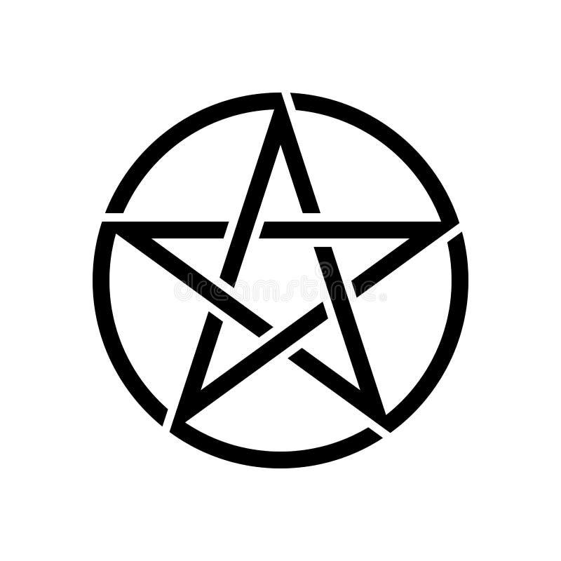 De Pentagram geïsoleerde vectorster van het occultismesymbool in cirkel royalty-vrije illustratie
