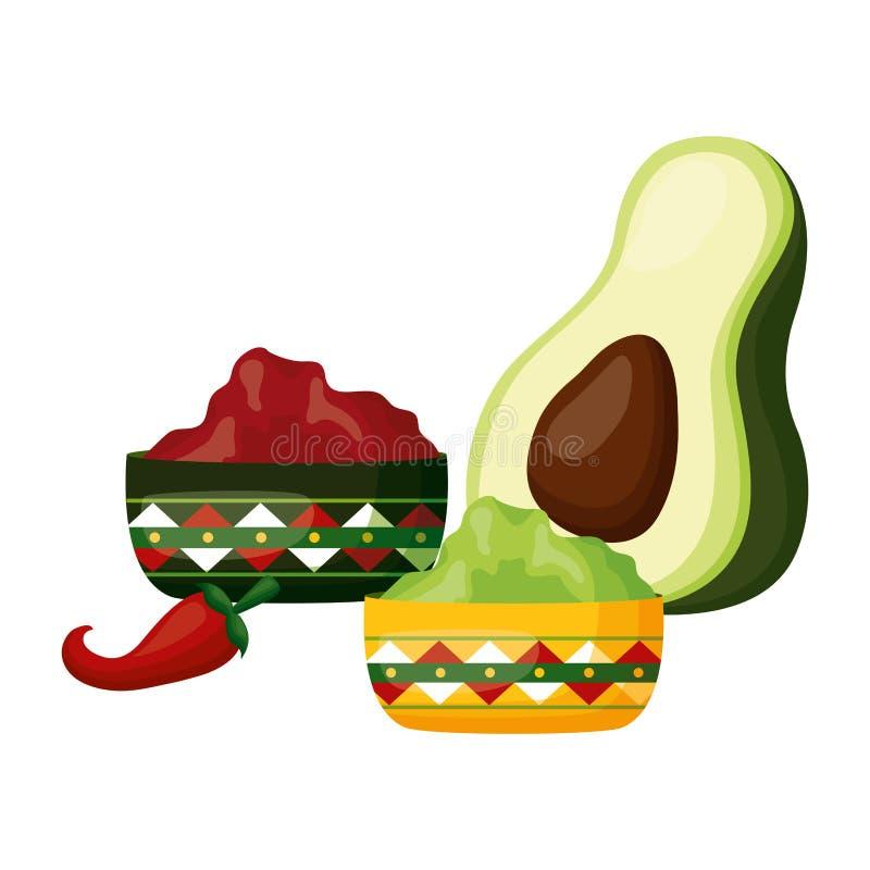 De peper van de avocado guacamole Spaanse peper stock illustratie