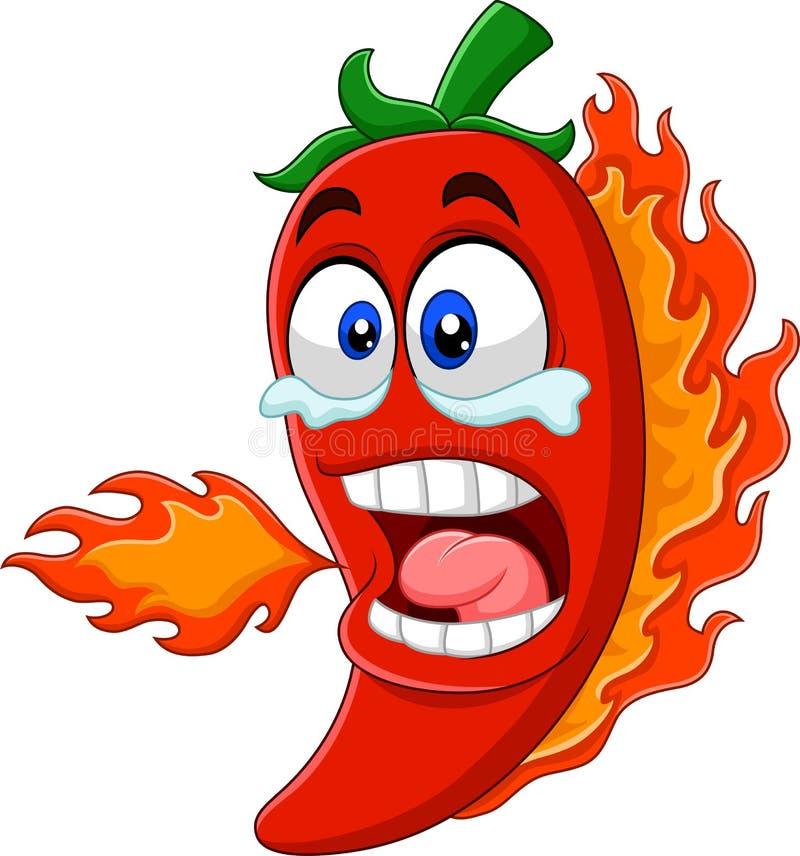 De peper van de beeldverhaalspaanse peper ademhalingsbrand stock illustratie
