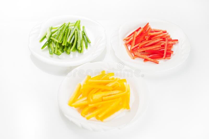 De peper van kleurenspaanse pepers op witte achtergrond wordt geïsoleerd die stock fotografie