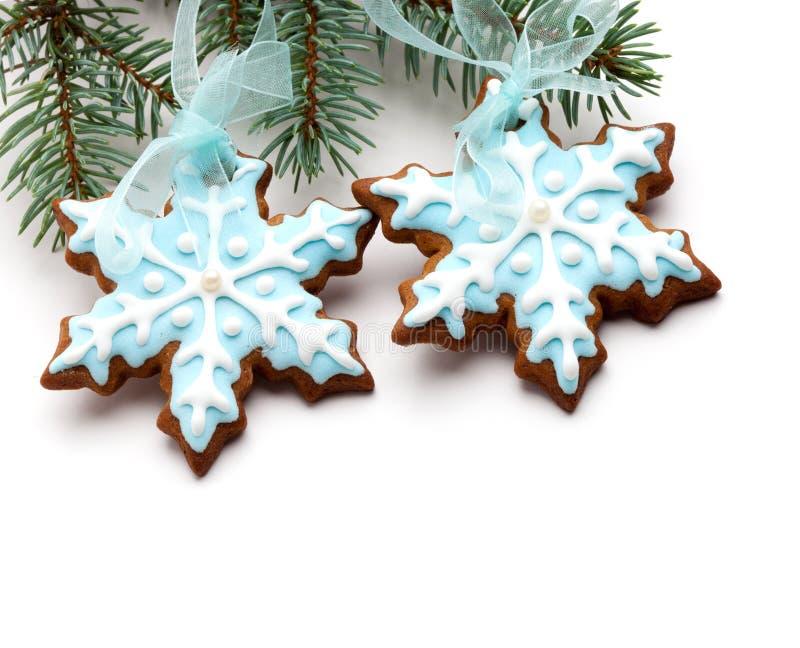 De peperkoekkoekjes van de sneeuwvlok royalty-vrije stock afbeeldingen