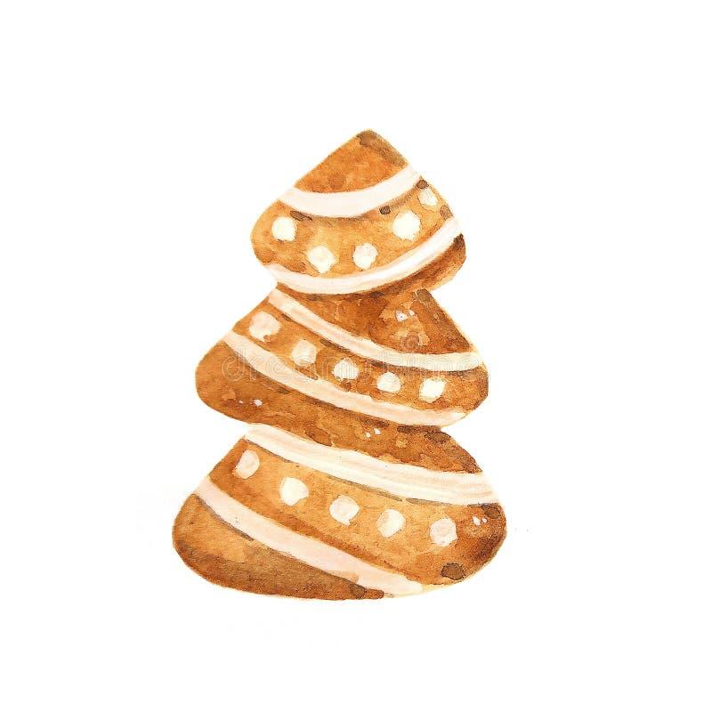 De peperkoekkoekjes van waterverfkerstmis Hand getrokken illustratie vector illustratie