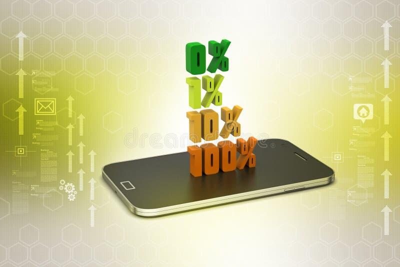 De percenten van conceptenfinanciën met slimme telefoon stock illustratie