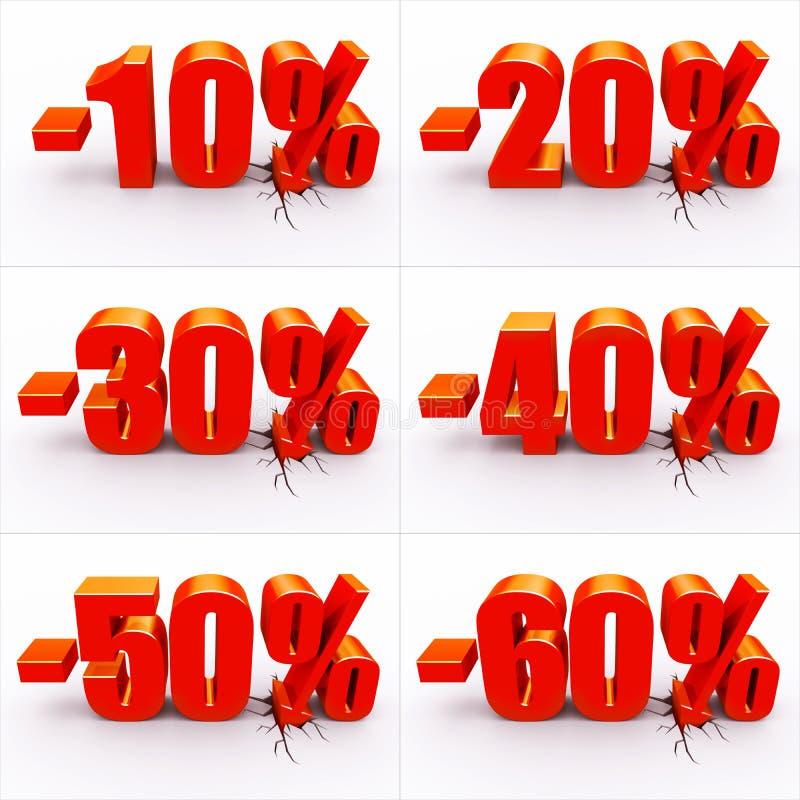 De percenten van de korting stock illustratie
