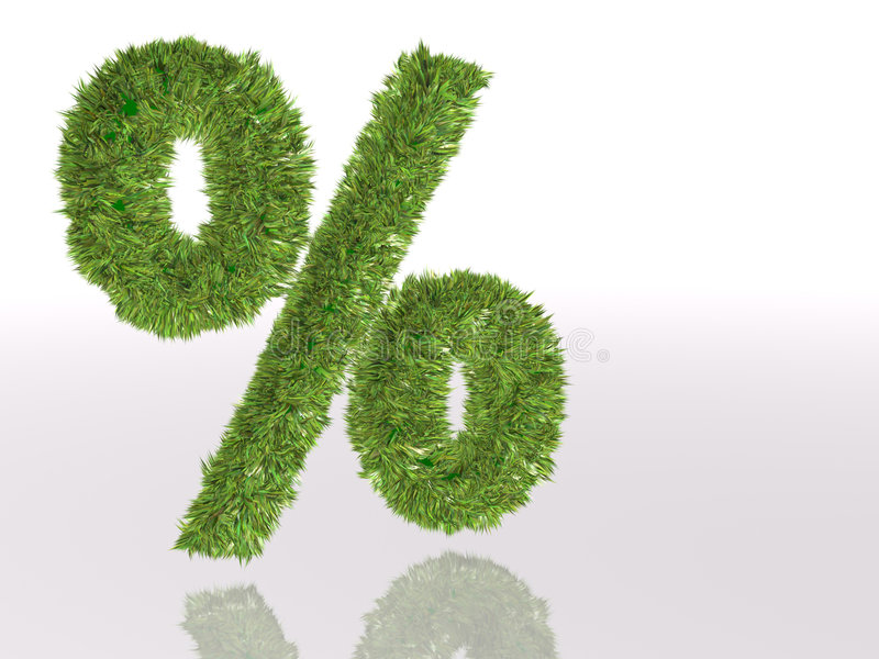 De percenten van het symbool in groen gras royalty-vrije stock fotografie