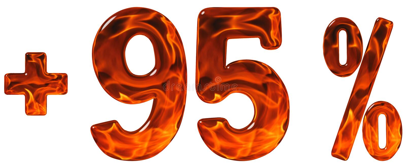 De percentenvoordelen, plus 95, vijfennegentig percenten, cijfers isoleren stock afbeelding