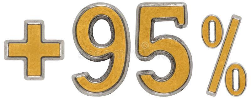 De percentenvoordelen, plus 95 vijfennegentig percenten, cijfers isoleren stock afbeelding