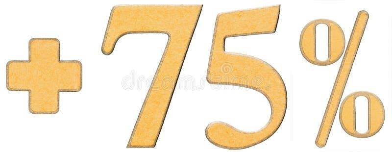 De percentenvoordelen, plus 75 vijfenzeventig percenten, cijfers isoleren stock foto