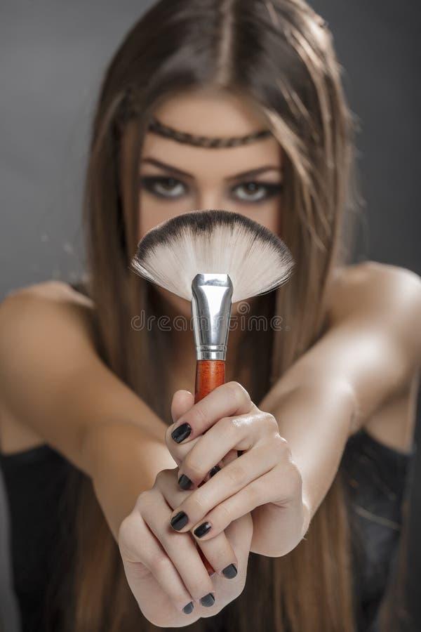 De perfecte borstel voor make-up stock foto's