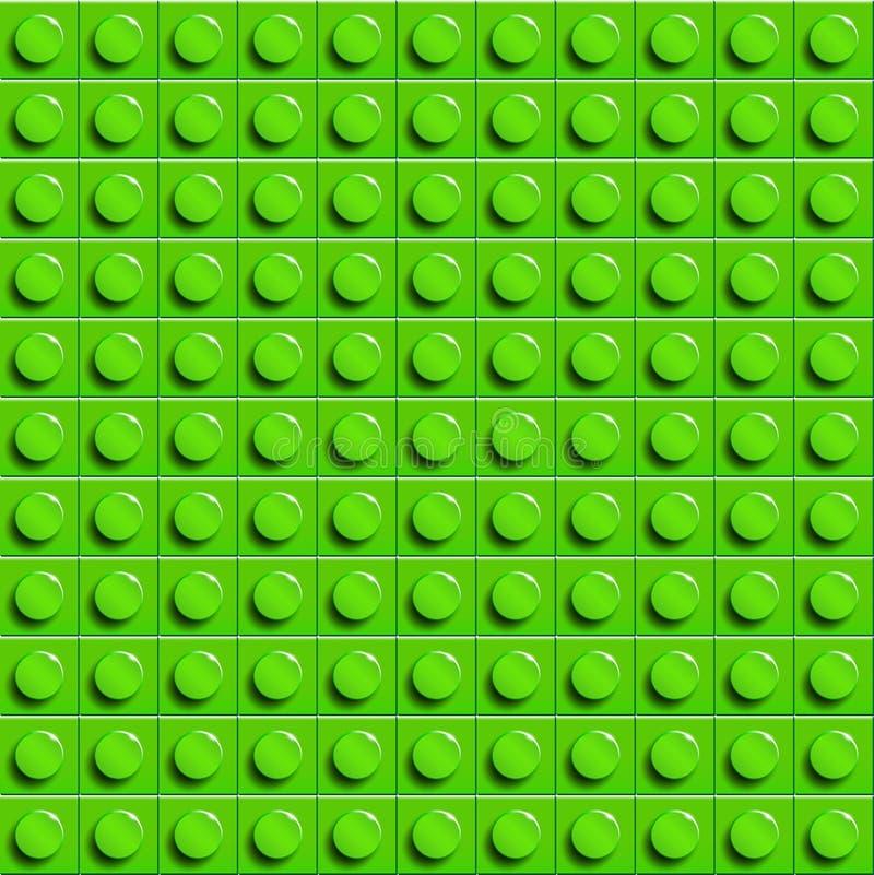 De perfecte vectorlegoachtergrond van close-upplastiek polijst bouwblok Groen vector illustratie