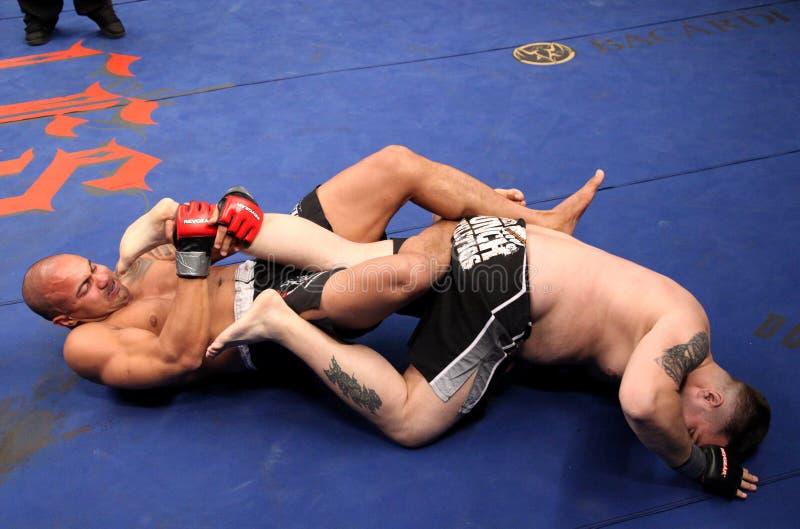 De periode van Marcelo Rocha Pereira v Eric Bedard MMA stock afbeelding