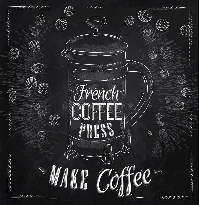 De perskrijt van de affiche Frans koffie stock illustratie