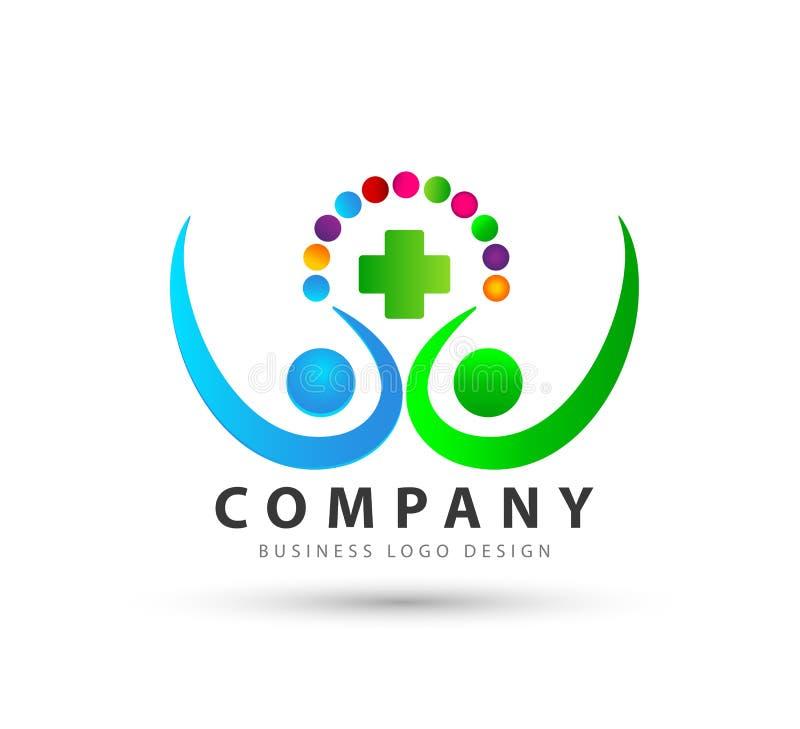 De personnes logo professionnel de haute qualité à la mode de cercles colorés ensemble nouveau illustration de vecteur