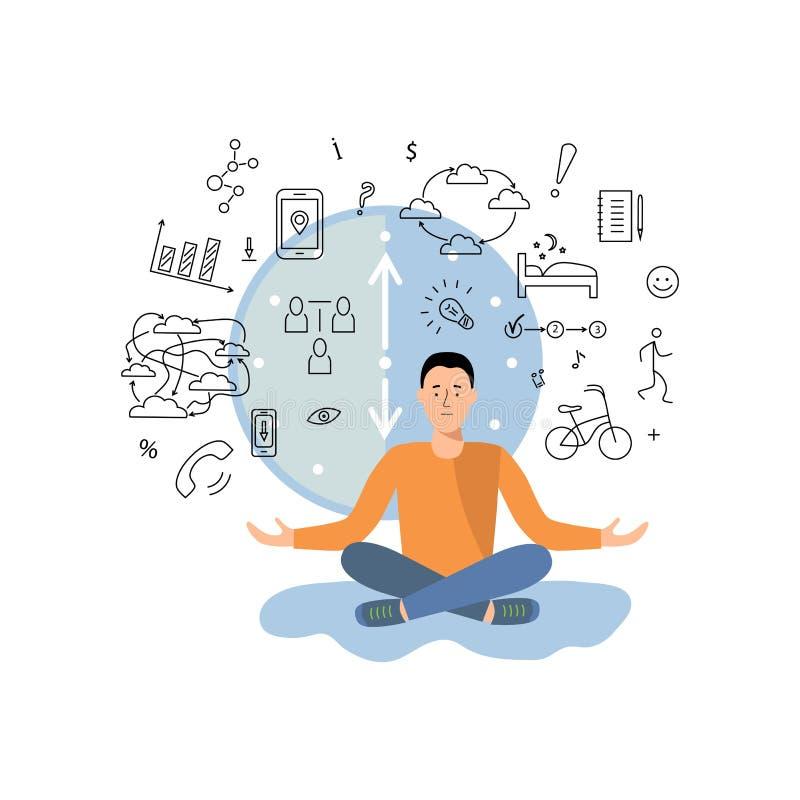 De persoon brengt tussen werk in evenwicht, die informatie en rust, sport, andere activiteiten het krijgen vector illustratie