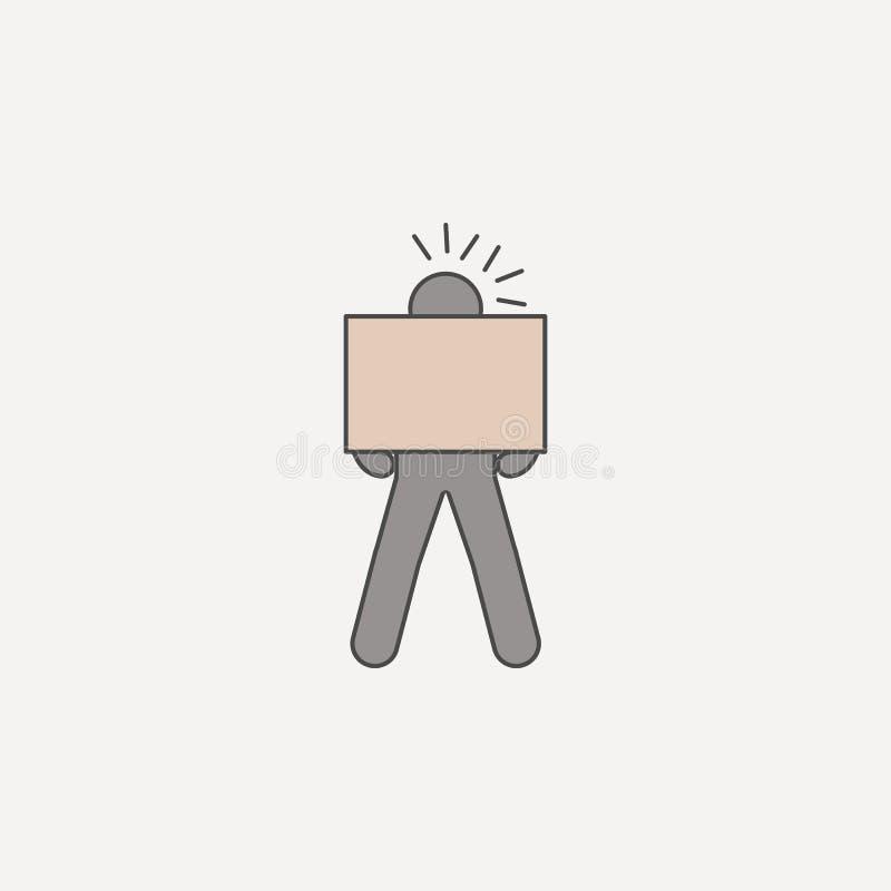 de persoon draagt nauwgezet doos 2 rassenbarrièrepictogram Eenvoudige kleurenelementillustratie persoon die nauwgezet doosoutli d stock illustratie
