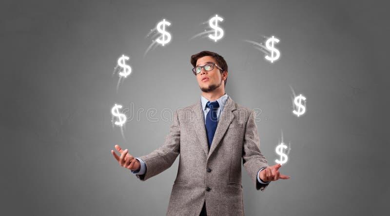 De persoon jongleert met met dollarsymbool royalty-vrije stock afbeelding